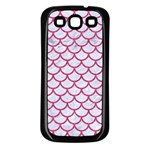 SCALES1 WHITE MARBLE & PINK DENIM (R) Samsung Galaxy S3 Back Case (Black) Front
