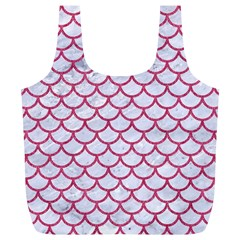 Scales1 White Marble & Pink Denim (r) Full Print Recycle Bags (l)