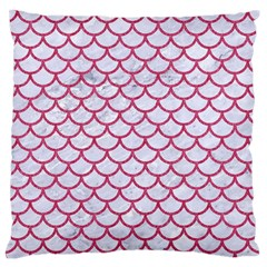 Scales1 White Marble & Pink Denim (r) Standard Flano Cushion Case (one Side)