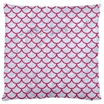 SCALES1 WHITE MARBLE & PINK DENIM (R) Large Flano Cushion Case (One Side) Front