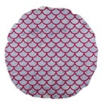SCALES1 WHITE MARBLE & PINK DENIM (R) Large 18  Premium Flano Round Cushions Front