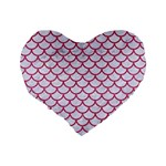 SCALES1 WHITE MARBLE & PINK DENIM (R) Standard 16  Premium Flano Heart Shape Cushions Back