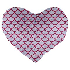 Scales1 White Marble & Pink Denim (r) Large 19  Premium Flano Heart Shape Cushions