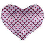 SCALES1 WHITE MARBLE & PINK DENIM (R) Large 19  Premium Flano Heart Shape Cushions Front