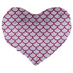 SCALES1 WHITE MARBLE & PINK DENIM (R) Large 19  Premium Flano Heart Shape Cushions Back