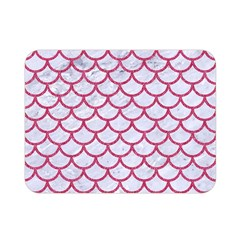 Scales1 White Marble & Pink Denim (r) Double Sided Flano Blanket (mini)