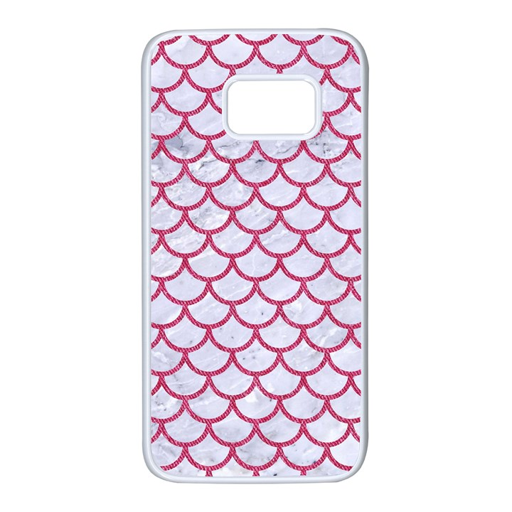 SCALES1 WHITE MARBLE & PINK DENIM (R) Samsung Galaxy S7 White Seamless Case