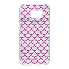 Scales1 White Marble & Pink Denim (r) Samsung Galaxy S7 Edge White Seamless Case