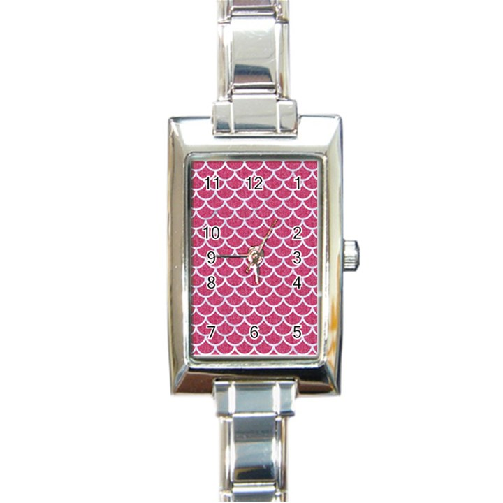 SCALES1 WHITE MARBLE & PINK DENIM Rectangle Italian Charm Watch