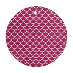 SCALES1 WHITE MARBLE & PINK DENIM Ornament (Round) Front