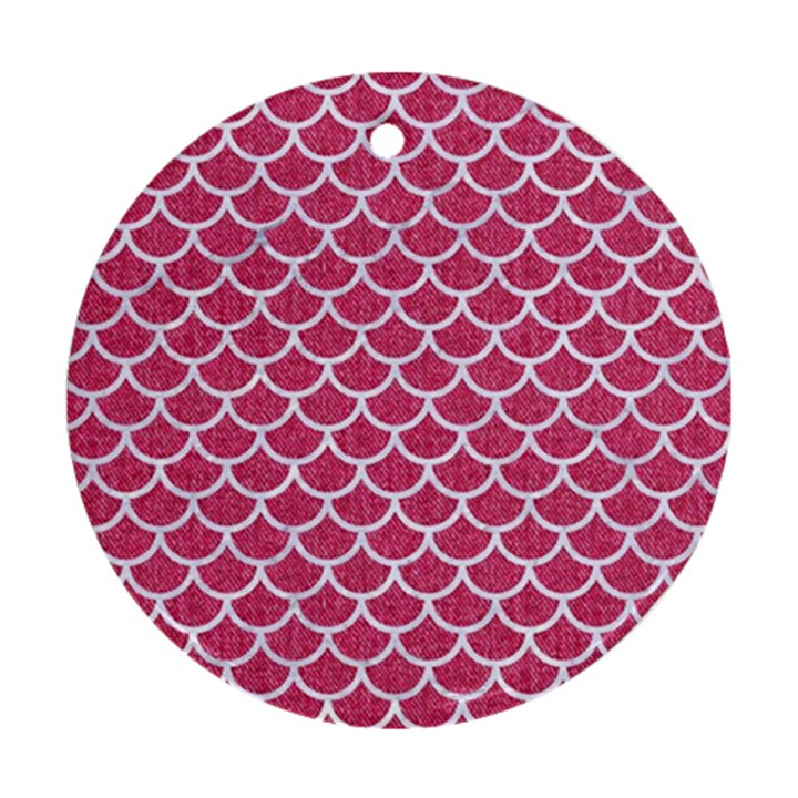 SCALES1 WHITE MARBLE & PINK DENIM Ornament (Round)