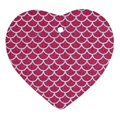 Scales1 White Marble & Pink Denim Ornament (heart)