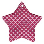 SCALES1 WHITE MARBLE & PINK DENIM Ornament (Star) Front