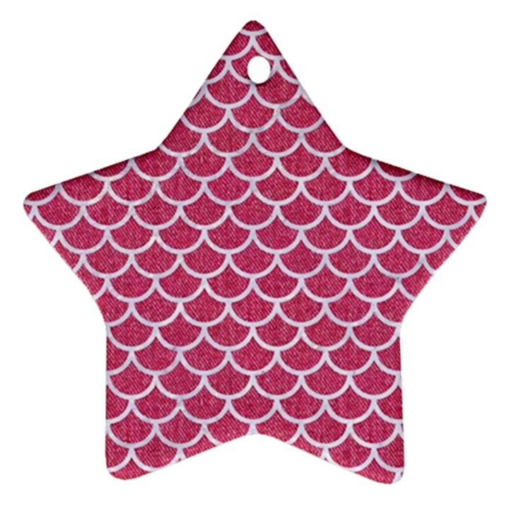 SCALES1 WHITE MARBLE & PINK DENIM Ornament (Star)