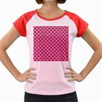 SCALES1 WHITE MARBLE & PINK DENIM Women s Cap Sleeve T-Shirt Front