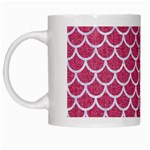 SCALES1 WHITE MARBLE & PINK DENIM White Mugs Left