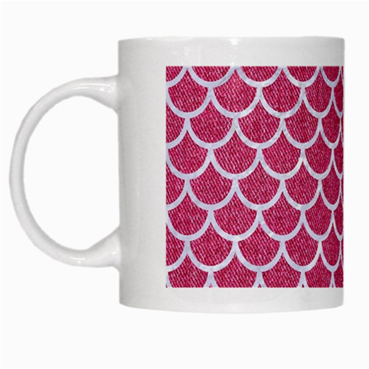 SCALES1 WHITE MARBLE & PINK DENIM White Mugs