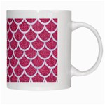 SCALES1 WHITE MARBLE & PINK DENIM White Mugs Right