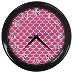 SCALES1 WHITE MARBLE & PINK DENIM Wall Clocks (Black) Front