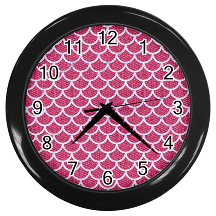 SCALES1 WHITE MARBLE & PINK DENIM Wall Clocks (Black)
