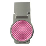 SCALES1 WHITE MARBLE & PINK DENIM Money Clips (Round)  Front
