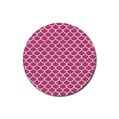 Scales1 White Marble & Pink Denim Rubber Coaster (round)  by trendistuff