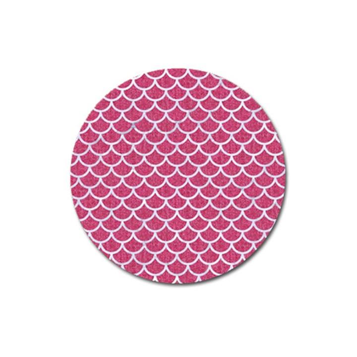 SCALES1 WHITE MARBLE & PINK DENIM Magnet 3  (Round)