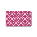 SCALES1 WHITE MARBLE & PINK DENIM Magnet (Name Card) Front
