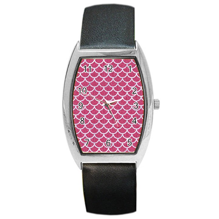 SCALES1 WHITE MARBLE & PINK DENIM Barrel Style Metal Watch