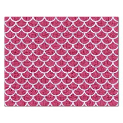 Scales1 White Marble & Pink Denim Rectangular Jigsaw Puzzl