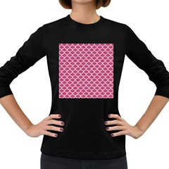 Scales1 White Marble & Pink Denim Women s Long Sleeve Dark T Shirts