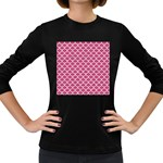 SCALES1 WHITE MARBLE & PINK DENIM Women s Long Sleeve Dark T-Shirts Front