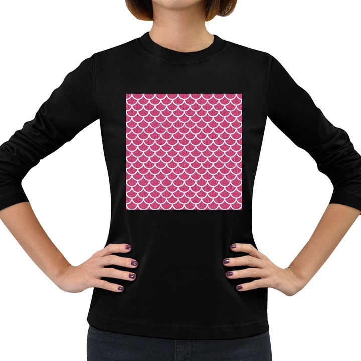 SCALES1 WHITE MARBLE & PINK DENIM Women s Long Sleeve Dark T-Shirts