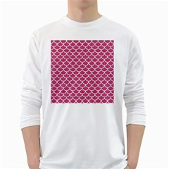 Scales1 White Marble & Pink Denim White Long Sleeve T Shirts