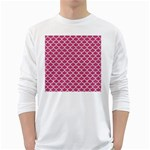 SCALES1 WHITE MARBLE & PINK DENIM White Long Sleeve T-Shirts Front