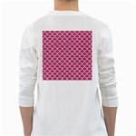 SCALES1 WHITE MARBLE & PINK DENIM White Long Sleeve T-Shirts Back