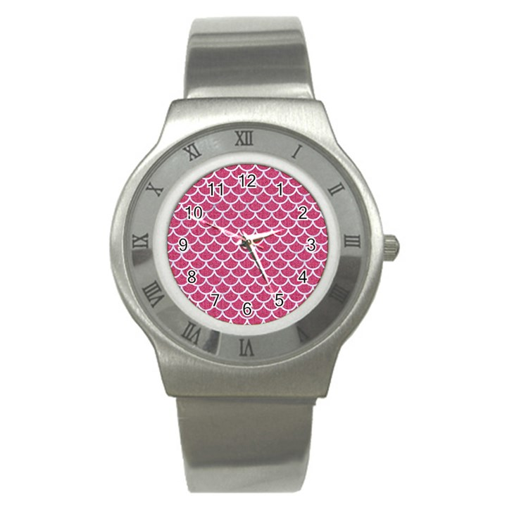 SCALES1 WHITE MARBLE & PINK DENIM Stainless Steel Watch