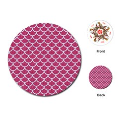 Scales1 White Marble & Pink Denim Playing Cards (round)  by trendistuff