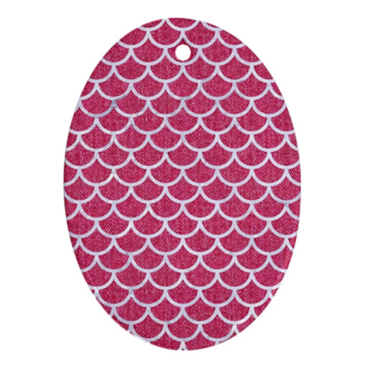 SCALES1 WHITE MARBLE & PINK DENIM Oval Ornament (Two Sides)