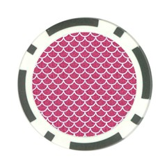 Scales1 White Marble & Pink Denim Poker Chip Card Guard