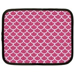 SCALES1 WHITE MARBLE & PINK DENIM Netbook Case (Large) Front