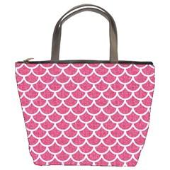 Scales1 White Marble & Pink Denim Bucket Bags
