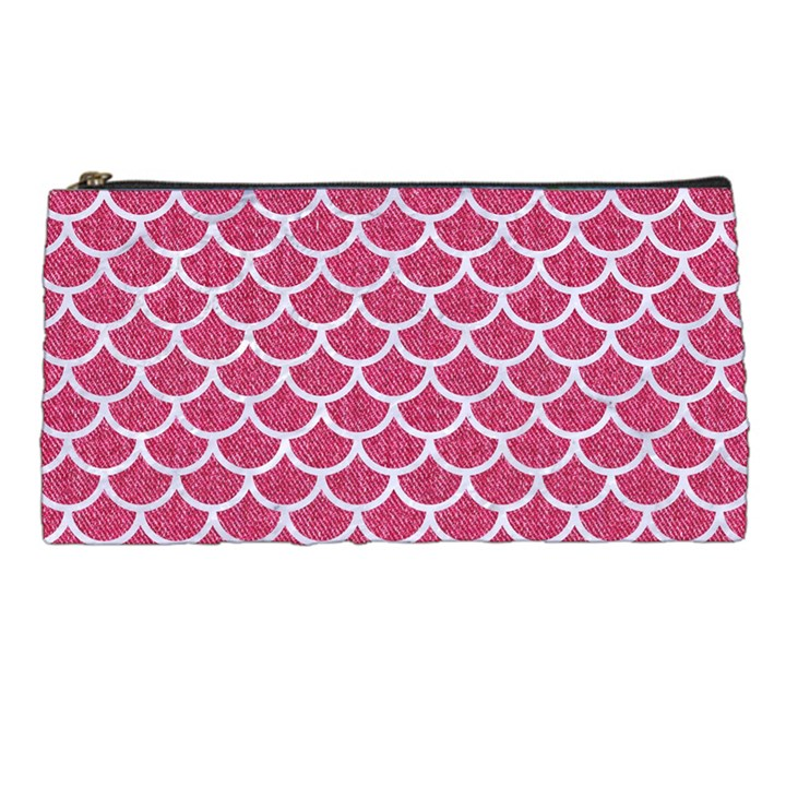 SCALES1 WHITE MARBLE & PINK DENIM Pencil Cases