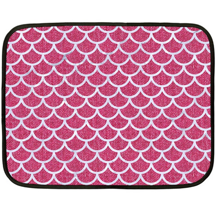 SCALES1 WHITE MARBLE & PINK DENIM Double Sided Fleece Blanket (Mini)