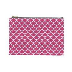 Scales1 White Marble & Pink Denim Cosmetic Bag (large)