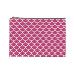 SCALES1 WHITE MARBLE & PINK DENIM Cosmetic Bag (Large)  Front