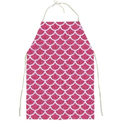 Scales1 White Marble & Pink Denim Full Print Aprons