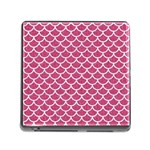 SCALES1 WHITE MARBLE & PINK DENIM Memory Card Reader (Square) Front
