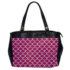 Scales1 White Marble & Pink Denim Office Handbags