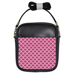 SCALES1 WHITE MARBLE & PINK DENIM Girls Sling Bags Front